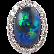 10.85ct Antique Vintage Edwardian Lightning Ridge Black Opal Diamond Cluster Engagement Wedding Ring Platinum