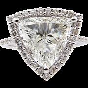 Vintage 2.78ct Trillion Diamond Engagement 14k White Gold Ring EGL USA