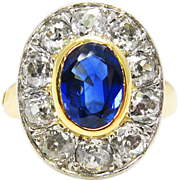 Victorian CIRCA 1890s GIA 4.68ct Royal Oval Sapphire Old Mine Diamond Cluster Engagement Wedding Yellow Gold Ring