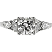 Art Deco 1.32ct Old European Diamond Engagement Platinum Ring EGL USA