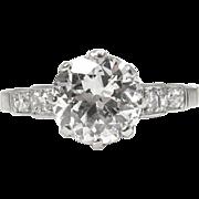 Art Deco GIA 1.52ct Old European Diamond Engagement Platinum Ring