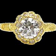 Victorian GIA 1.48ct Old European Diamond Engagement 18k Yellow Gold Ring