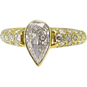 Vintage Mid Century 1.90ct Pear Diamond Engagement 18k Yellow Gold Ring EGL USA
