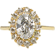 Victorian GIA 1.50ct Oval Diamond Cluster Engagement 18k Yellow Gold Ring