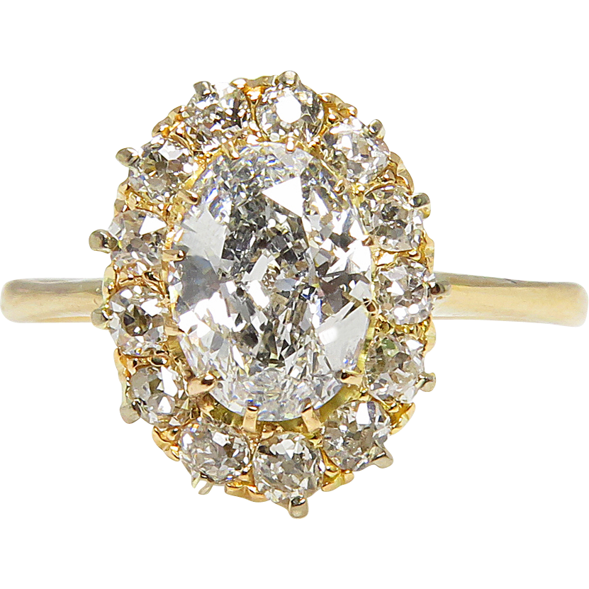 Victorian GIA 1 50ct Oval Diamond Cluster Engagement 18k Yellow