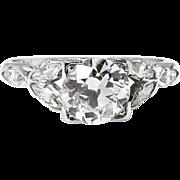 Art Deco 1.94ct Old European Diamond Engagement Platinum Ring EGL USA