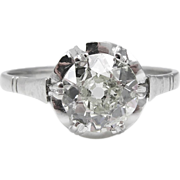 Edwardian 1.13ct Old Mine Diamond Solitaire Engagement Platinum Ring