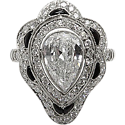 Vintage 2.62ct Pear Diamond Onyx Engagement Platinum Ring EGL USA