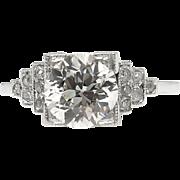 Art Deco GIA 1.38ct Old European Diamond Engagement Platinum Ring