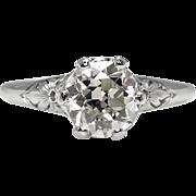 Edwardian 0.94ct Old European Diamond Solitaire Engagement Platinum Ring EGL USA