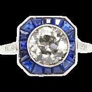 Art Deco 2.52ct Old European Diamond Sapphire Engagement Platinum Ring EGL USA