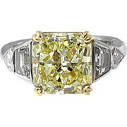 Vintage 4.60ct Yellow Radiant Diamond Engagement Platinum Ring EGL USA