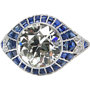Edwardian 5.52ct Old European Diamond Engagement Platinum Ring EGL USA