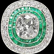 Vintage 4.70ct Old Mine Cushion Diamond Green Emerald Engagement Platinum Ring EGL USA