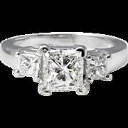 Vintage GIA 1.60ct Princess Diamond Three Stone Engagement 14k White Gold Ring