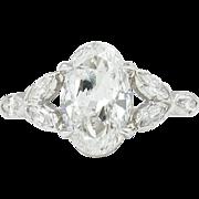 Art Deco GIA 2.55ct Old Euro Oval Diamond Engagement Platinum Ring