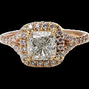 Vintage GIA 1.84ct Cushion Diamond Engagement 14k Rose Gold Halo Ring