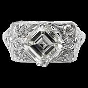 Art Deco 2.04ct Asscher Diamond Engagement Platinum Ring EGL USA