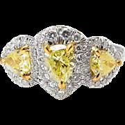 Vintage GIA 2.58ct Yellow Pear Diamond Three Stone Engagement Platinum Ring