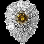 "Retro CIRCA 1950s GIA 4.20ct Fancy Brownish Yellow Round Diamond ""BALLERINA"" 18k White Gold Ring"
