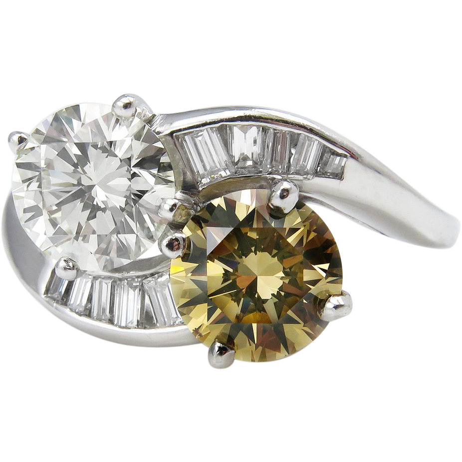 "Vintage Gia 291ct ""moi Et Toi"" Crossover Twin Fancy Cognac Round Diamond  Engagement Platinum Ring"