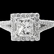 Vintage GIA 1.48ct Princess Diamond Engagement 18k White Gold Ring E VS1