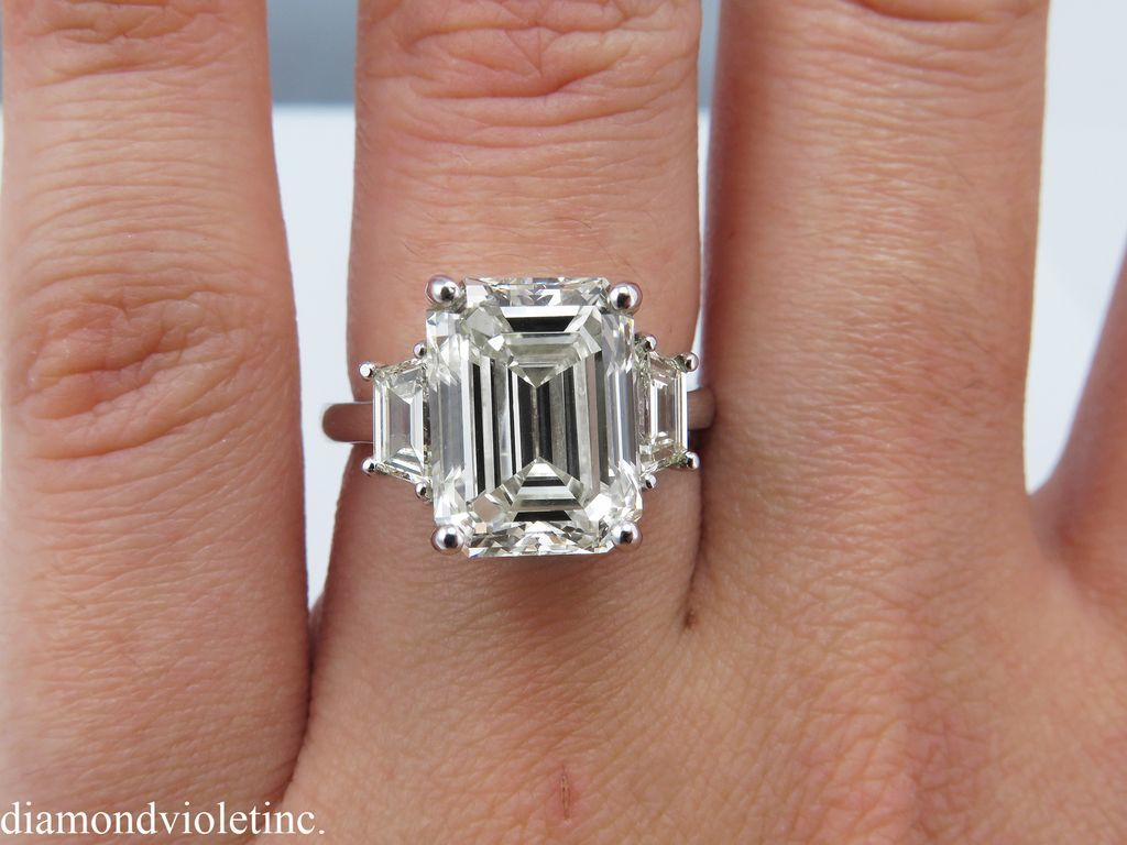 Vintage 5 94ct Emerald Cut Trapezoid Diamond Three Stone