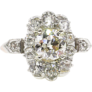 Edwardian GIA 2.01ct Old European Diamond Cluster Engagement 18k Rose Gold/Platinum Ring