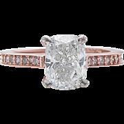 Vintage 2.00ct Cushion Diamond Engagement 14k Rose Gold Ring EGL USA