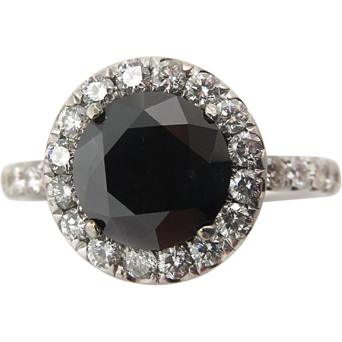 Vintage 3 00ct Fancy Black Round Diamond Engagement 18k White Gold from diamo