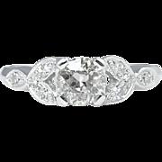 Art Deco 0.61CT Old European Diamond Engagement Platinum Ring