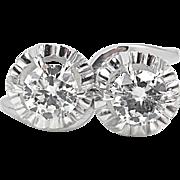 Vintage 1.18ct Crossover Round Diamond Engagement Platinum Ring EGL USA