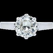 Art Deco 1.12ct Old European Diamond Solitaire Engagement 18k White Gold Ring EGL USA