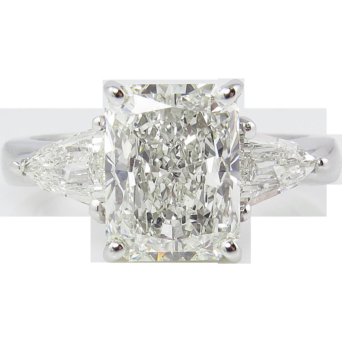 Vintage 3 74ct Solitaire Radiant Diamond Engagement
