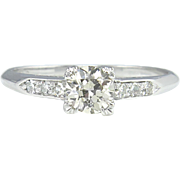 Art Deco 0.68ct Old European Diamond Engagement Platinum Ring