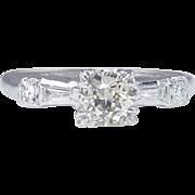 0.54ct Antique Vintage Art Deco Old European Diamond Engagement Wedding 14k White Gold Ring