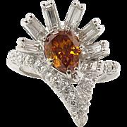 GIA 1.81ct Estate Vintage Fancy Orange Pear Diamond Cluster Anniversary 14k White Gold Ring
