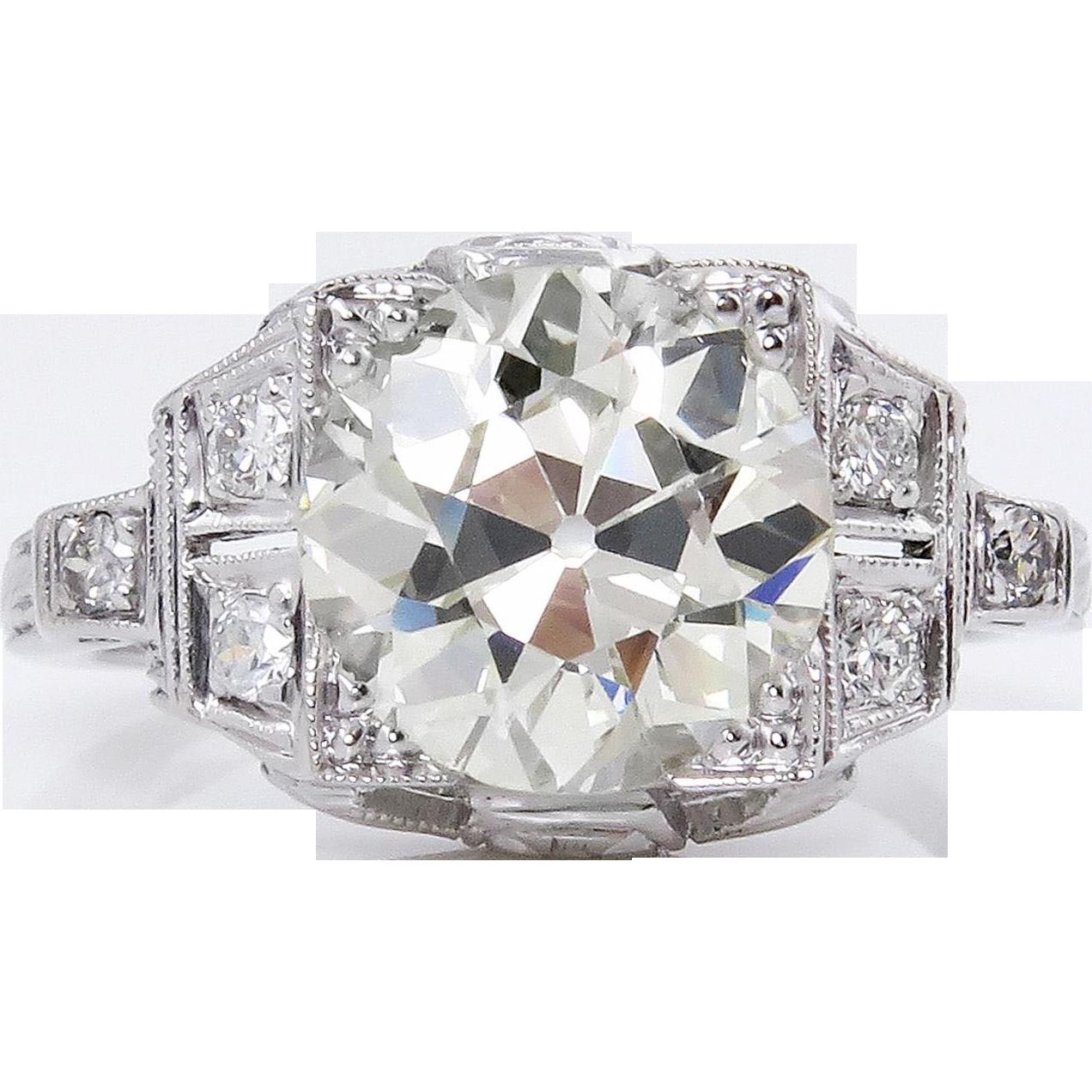 3.07ct Antique Vintage Art Deco Old European Diamond Engagement Wedding Platinum Ring EGL USA