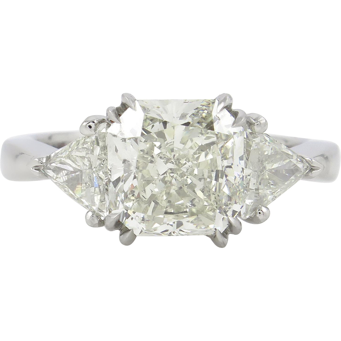 375ct Vintage Radiant Cut Diamond 3 Stone Engagement Platinum Ring Egl Usa