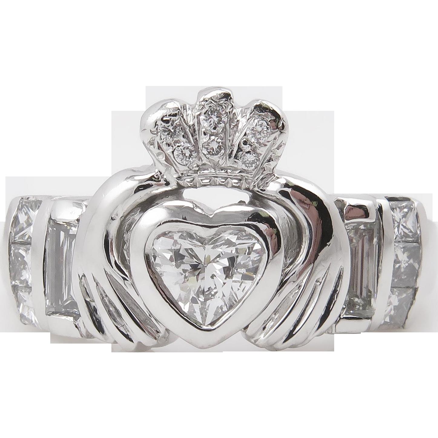 heart 101ct diamond irish claddagh engagement wedding