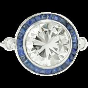 Vintage 3.25ct Round Diamond Sapphire Engagement Platinum Ring EGL USA
