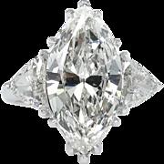 Vintage GIA 4.90ct Marquise Diamond 3 Stone Engagement Platinum Ring