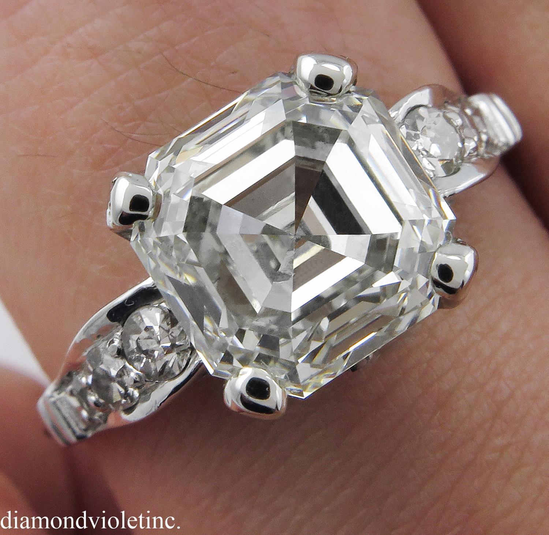Art Deco 4 34ct Asscher Diamond Engagement Ring EGL USA from