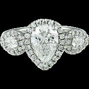 Vintage GIA 2.12ct Pear Diamond Three Stone Engagement Platinum Ring