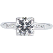 Art Deco GIA 1.01ct Old European Diamond Engagement Platinum Ring
