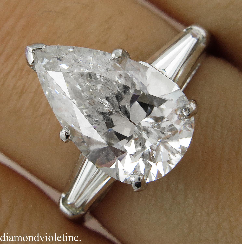 Vintage 4 48ct Solitaire Pear Diamond Engagement Platinum Ring EGL