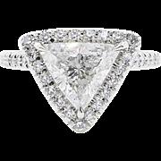 Art Deco GIA 1.76ct Trillion Diamond Solitaire Engagement Platinum Ring