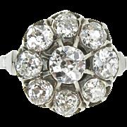Edwardian 1.92ct Old Mine Diamond Cluster Engagement Platinum Ring