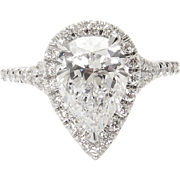 D Color! HIGHEST COLOR! Vintage GIA 2.70ct Pear Diamond Halo Engagement Platinum Ring