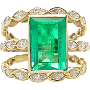 Vintage GIA 4.75ct Colombian Green Emerald Diamond Engagement 18k Yellow Gold Ring